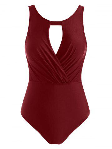 Ruched Hollow Out Open Back One-piece Swimsuit