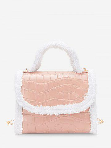 Faux Fur Edge Chain Cover Handbag - PINK