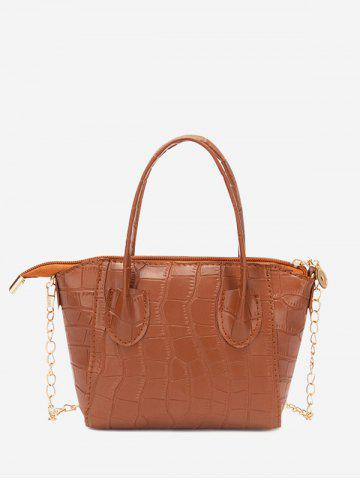 Chain Stone Grain Solid Tote Bag - CHESTNUT RED