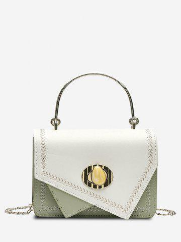 Faux Gem Hasp Irregular Metal Handle Handbag - LIGHT GREEN