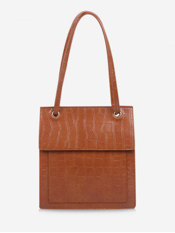 Retro Stone Grain Cover Tote Bag - BROWN