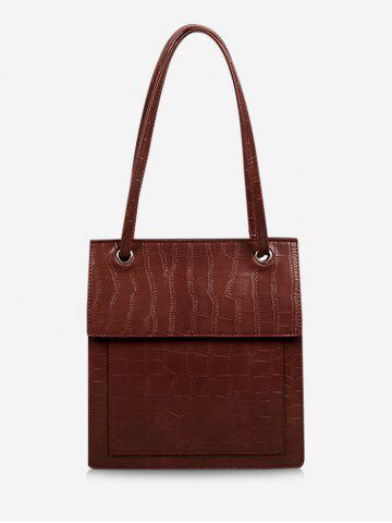 Retro Stone Grain Cover Tote Bag - RED WINE