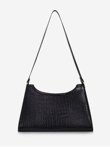 Retro Textured Trapezoid Shoulder Bag - BLACK