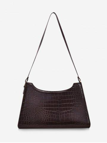 Retro Textured Trapezoid Shoulder Bag - DEEP COFFEE