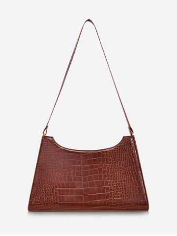 Retro Textured Trapezoid Shoulder Bag - BROWN
