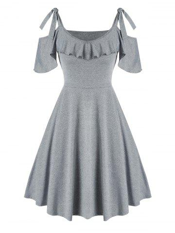 Tie Knot Cold Shoulder Ruffled Dress