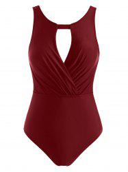 Ruched Hollow Out Open Back One-piece Swimsuit -