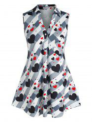 Plus Size Sleeveless Heart Pattern Pocket Blouse -