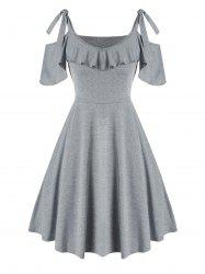 Tie Knot Cold Shoulder Ruffled Dress -