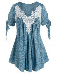 Plus Size Tie Sleeves Lace Applique Space Dye Tee -