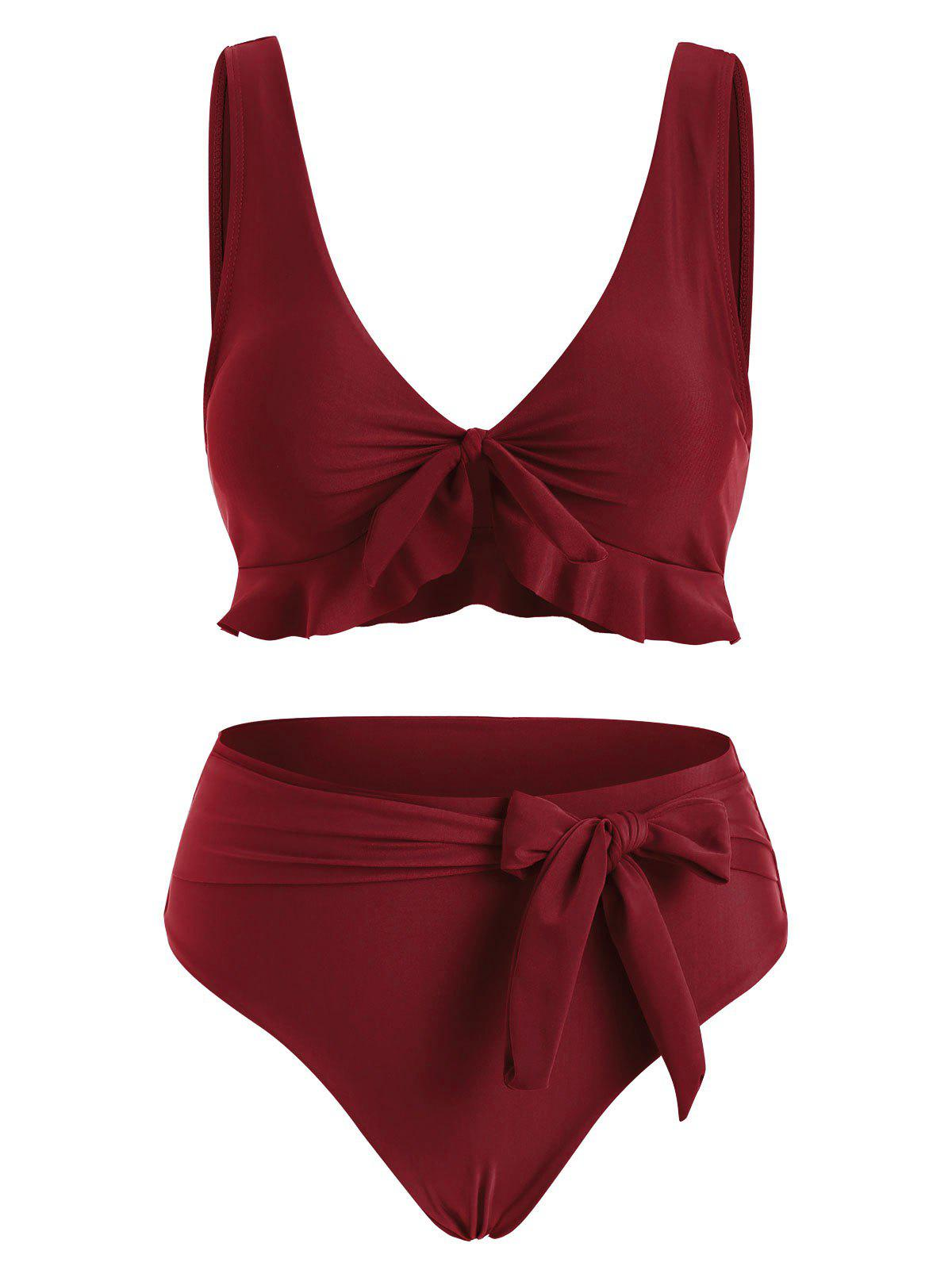 Outfit Tied Ruffle Belted Full Coverage Bikini Swimwear