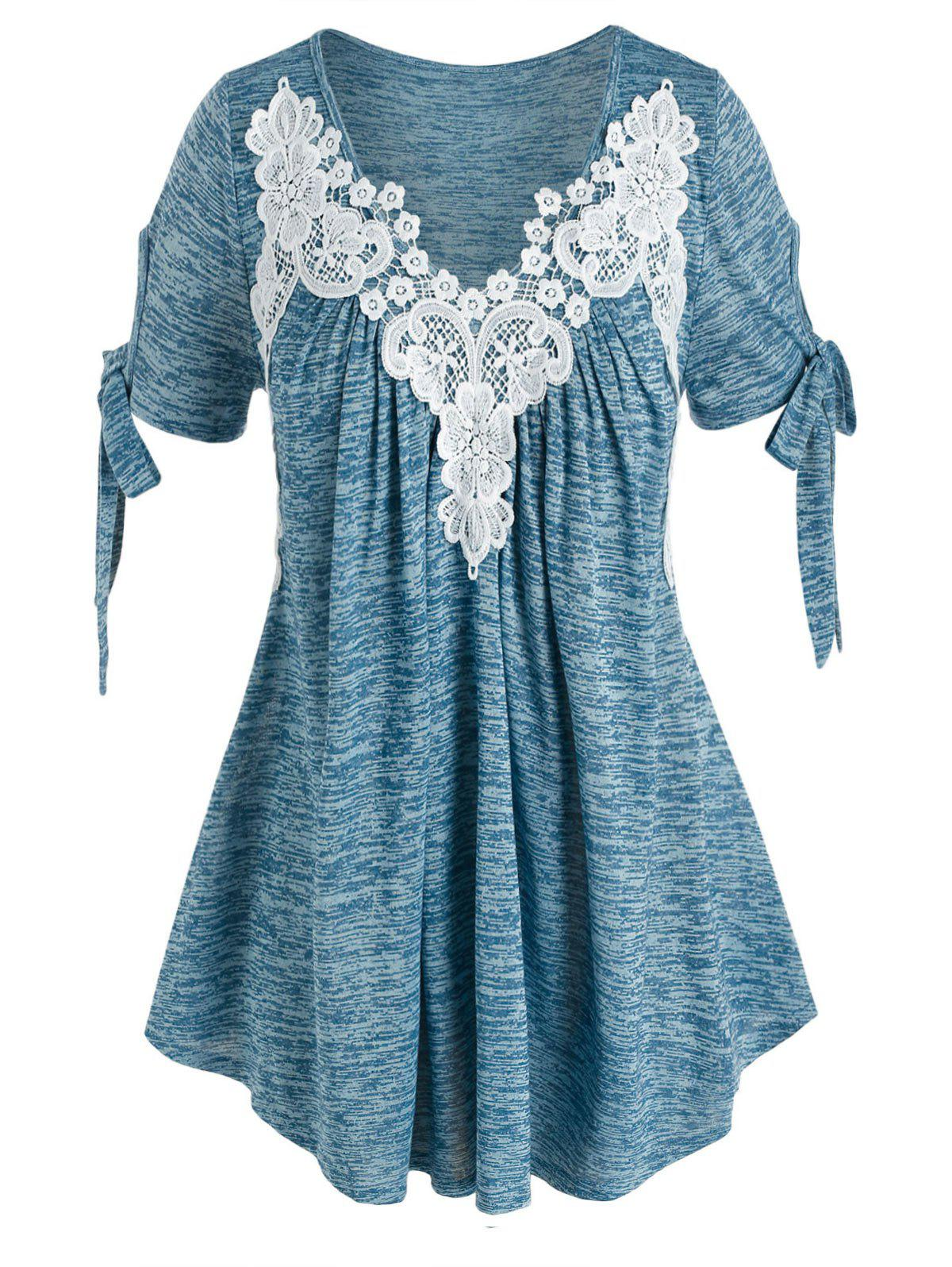 Fashion Plus Size Tie Sleeves Lace Applique Space Dye Tee