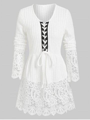 Lacing Ribbed Lace Panel Knitted Top - WHITE - 2XL