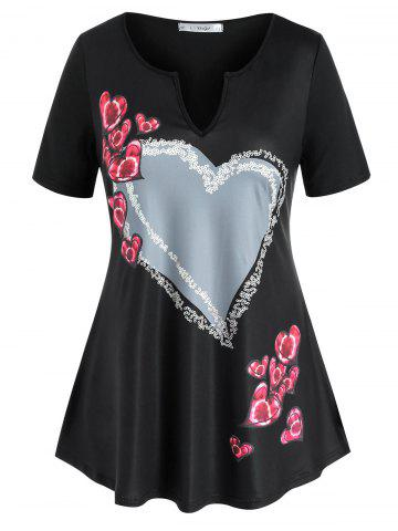 Plus Size Valentine Heart Pattern V Notch Tee