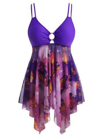 Plus Size O-ring Butterfly Print Mesh Panel Tankini Swimwear