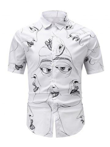 Figure Drawing Print Button Up Shirt - WHITE - 2XL