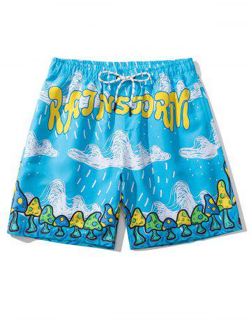 Shorts de Playa con Estampado de Setas de Letras - DEEP SKY BLUE - 3XL