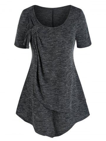 Plus Size Front Knot Layers Ribbed T Shirt - BLACK - 5X