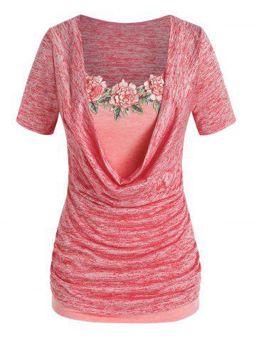 Plus Size Space Dye Cowl Neck Tee and Floral Applique Tank Top Set - RED - 1X