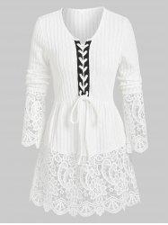 Lacing Ribbed Lace Panel Knitted Top -
