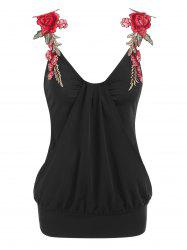 Flower Embroidered Overlay Blouson Tank Top -