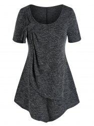 Plus Size Front Knot Layers Ribbed T Shirt -