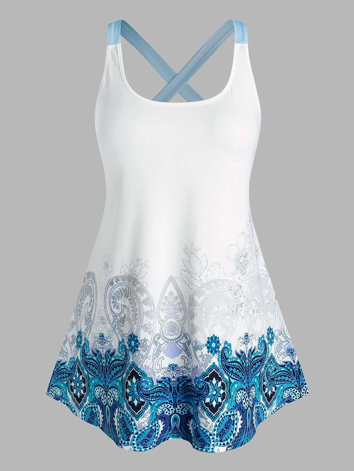 Outfit Plus Size Paisley Criss Cross Back Tank Top