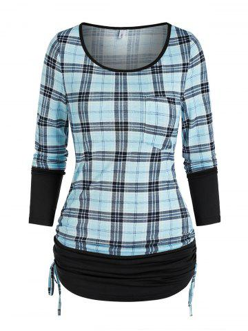 Ruched Plaid Cinched T Shirt