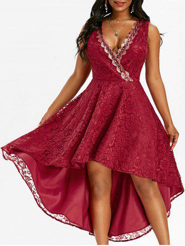Robe Superposée Plongeante en Dentelle à Paillettes - RED - 2XL