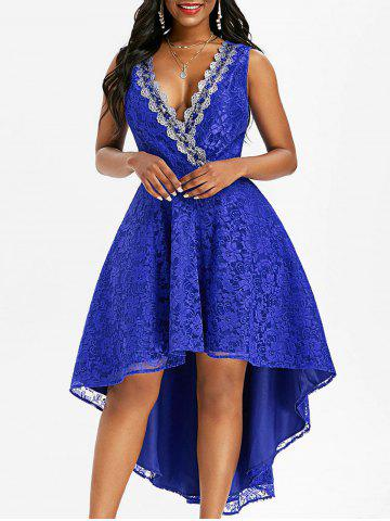 Lace Sequined Plunging Surplice Dress