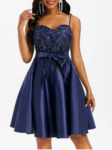 Lace Insert Sequined Cami Belted Party Dress - BLUE - S