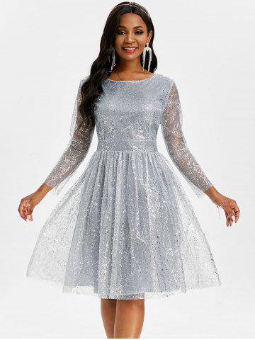 Sparkly Sequined Mesh Overlay Open Back Ball Gown Dress