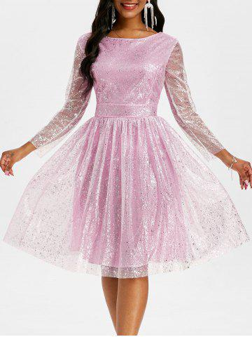 Robe de Bal Superposée Brillante en Maille Au Dos Ouvert - LIGHT PINK - 3XL