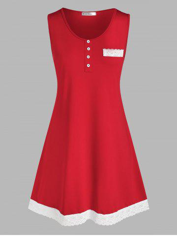 Lace Panel Mock Button Sleep Dress - RED - 5X