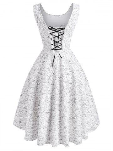 Flower Butterfly Lace Overlay Lace-up Dip Hem Dress - WHITE - XL
