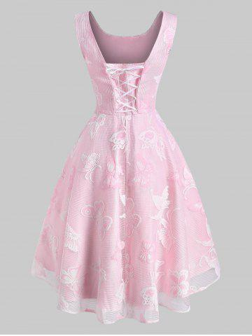 Robe Fleur Papillon Superposée en Dentelle à Lacets - LIGHT PINK - S