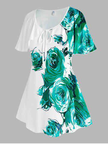 Plus Size Floral Keyhole Cape Sleeve T Shirt - WHITE - 3X