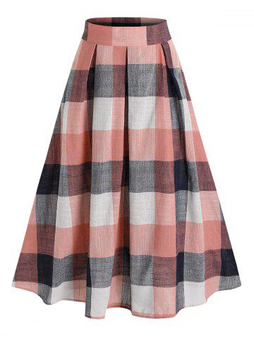 High Waisted Plaid Print Pleated Midi Skirt