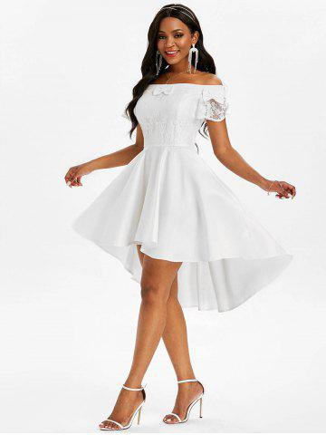 Lace Insert Bowknot Off Shoulder Dip Hem Dress