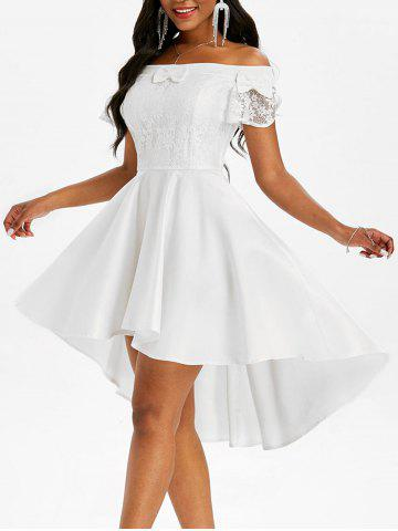 Lace Insert Bowknot Off Shoulder Dip Hem Dress - WHITE - 2XL