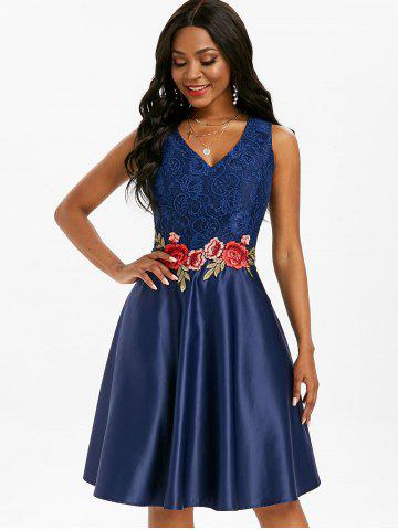 Floral Embroidered Applique Lace Panel Party Dress