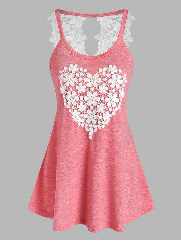 Floral Heart Pattern Applique Tank Top - LIGHT PINK - XXXL