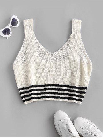 Plus Size Striped Hem Sleeveless Sweater