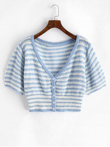 Plus Size V Neck Striped Button Up Cropped Cardigan - MULTI - 3XL