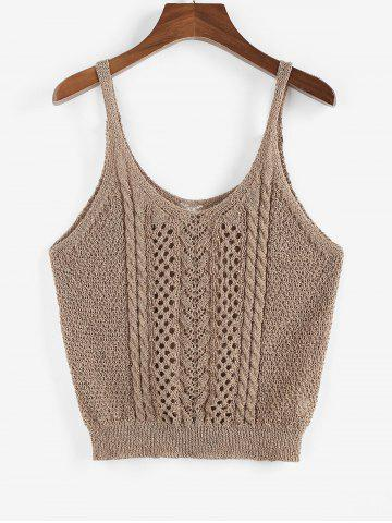 Cable Pointelle Knit Solid Plus Size Sweater Vest - COFFEE - 3XL