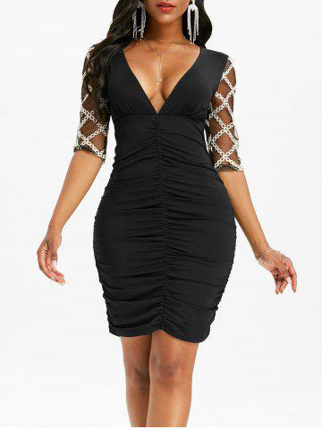 Rhombus Pattern Lace Sleeve Ruched Mini Dress