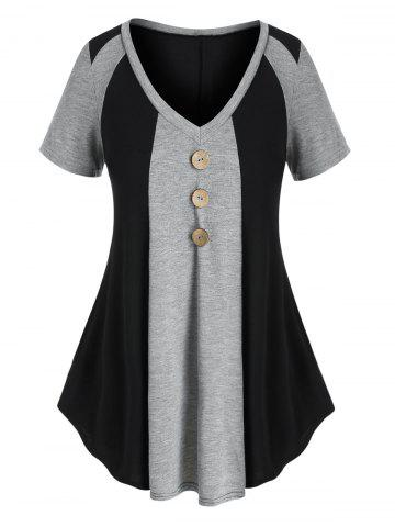 Plus Size Two Tone Buttons T Shirt - MULTI - 1X