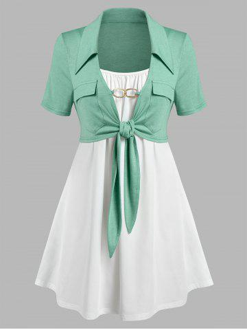 Plus Size Front Tie Pockets Top and Camisole Set - LIGHT GREEN - 1X