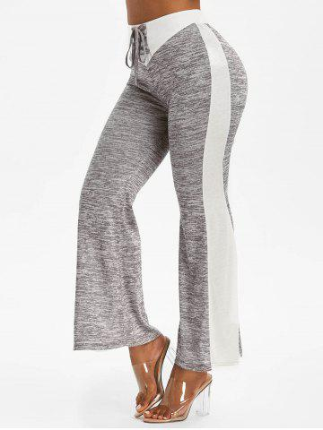 High Waisted Space Dye Print Lace-up Flare Pants - LIGHT GRAY - XXL