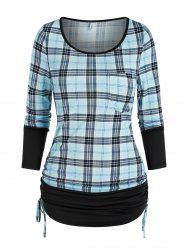 Ruched Plaid Cinched T Shirt -